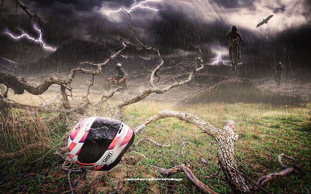Motocross thunder - photo manipulation