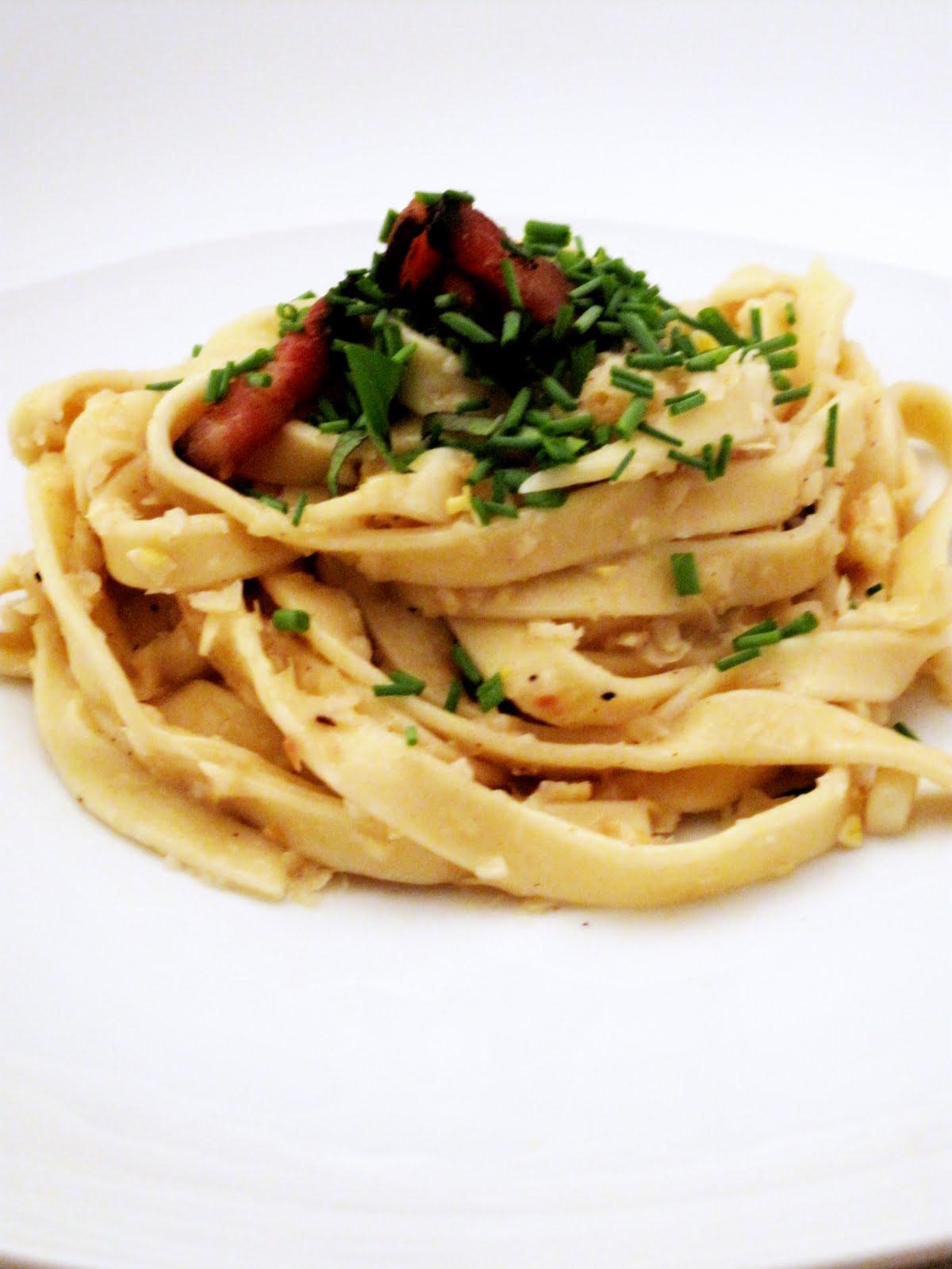 10x10: Homemade Pasta with Bacon and Corn Pesto