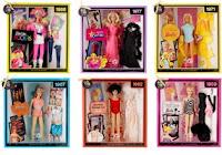 1986's barbie and the rockers, 1977's superstar barbie, 1971's malibu barbie, 1967's twist 'n' turn barbie, 1962's brunette bubble cut barbie, 1959's original black and white bathing suit barbie