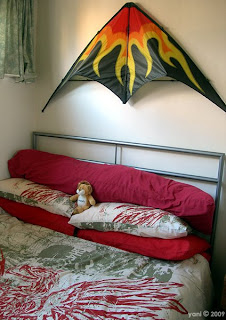 my new bed and my old kite