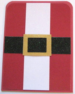 I Decided To Make A Santa Suit Card Its An A2 Cut Red Glitter Paper For The Layering That Measures 4 X 525