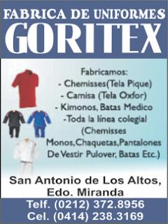 FABRICA DE UNFORMES GORITEX en Paginas Amarillas tu guia Comercial