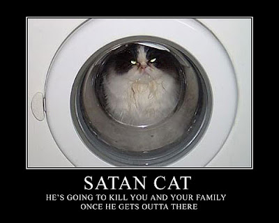 Satan Cat Demotivational Poster