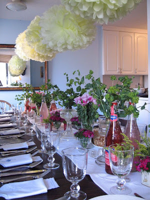We Set The Table With A White Table Runner And Filled Different Cut Glass  Vessels And Antique Tea Tins With Seasonal Flowers And Greens.