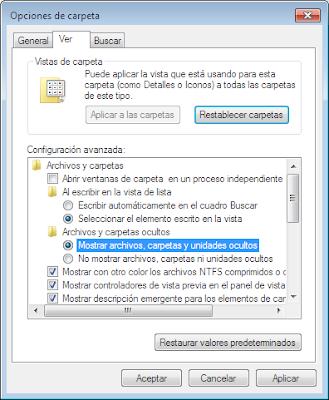 """Activar la opcion """"mostrar archivos y carpetas ocultos"""" en Windows o desactivada por virus 6"""