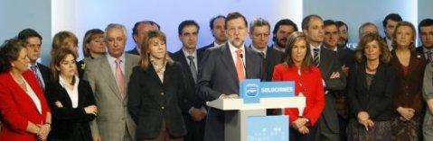 Mariano Rajoy y dirigentes del PP