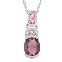 Garnet, Pink Tourmaline and Diamond Pendant