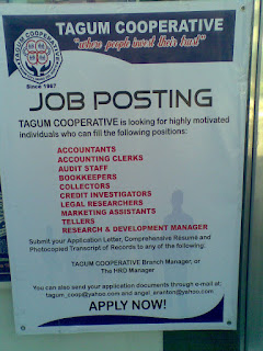 TAGUM COOPERATIVE is looking for highly motivated individuals who can