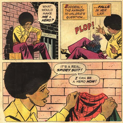 Valerie finds spider mans outfit