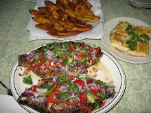 Cameroonian grilled fish, fried plantain and pan-fried tofu