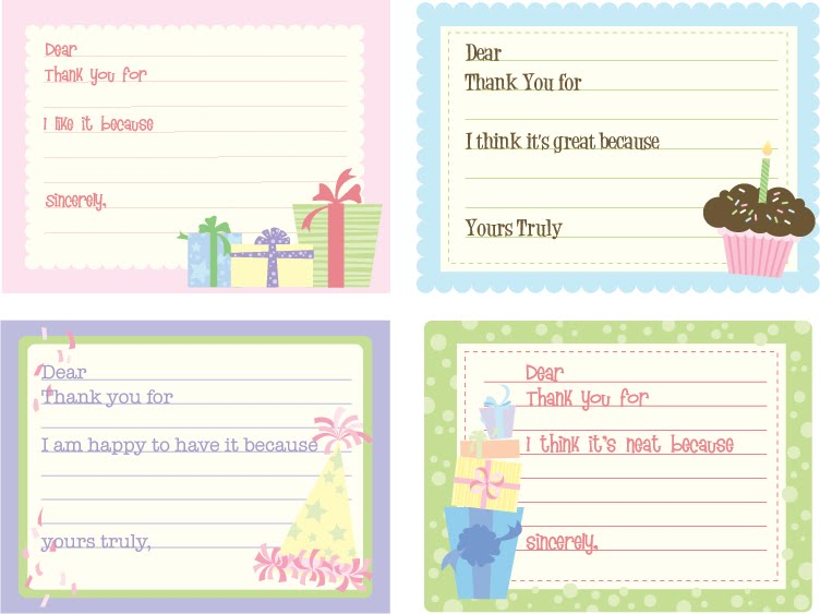 Free Children S Birthday Thank You Notes ~ Susan fitch design birthday thank you notes for kids