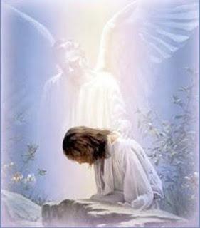 Cristo y un ángel, al parecer en Getsemaní