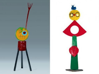 Left to Right: Joan Miro's Personage (1967) and The Caress of a Bird (1967). [Credit: Fondation Marguerite et Aime Maeght, Saint-Paul.]