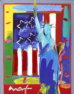 Patriotic Series: Full Liberty with Flag. Peter Max.
