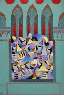 Teal and Gold with Red Arches. Anatole Krasnyansky.