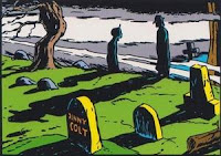 Notice the headstone - inaccurate because Denny was buried in the family crypt