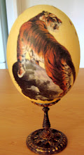 EMU EGG AUSTRALIAN with TIGER DECOUPAGE