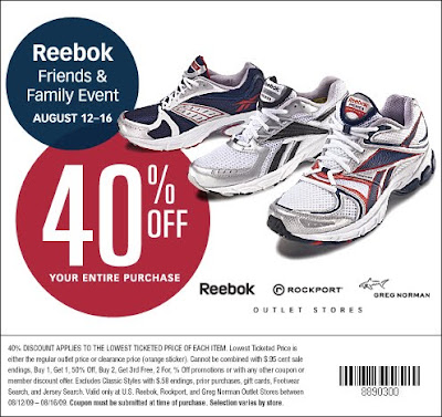 coupon HERE , good for 40% off lowest prices at the Reebok Outlet