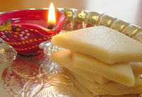 Diwali Wishes with Kaju Katli