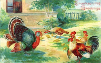 vintage thanksgiving turkey chickens