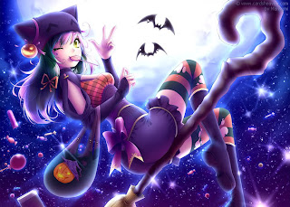 cute cartoon witch wallpaper