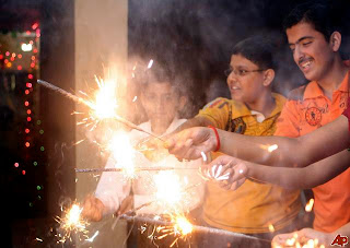 children bursting crackers