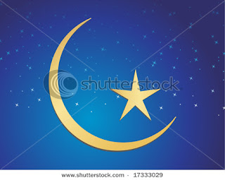 eid mubarak star and moon card