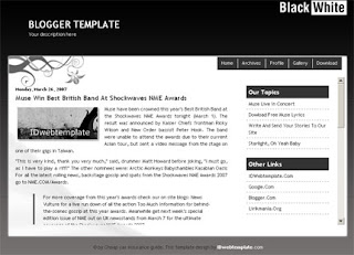 Black and White - Free Blogger Template