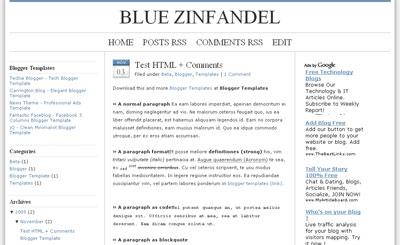 Blue Zinfandel 3 column Blogger Template