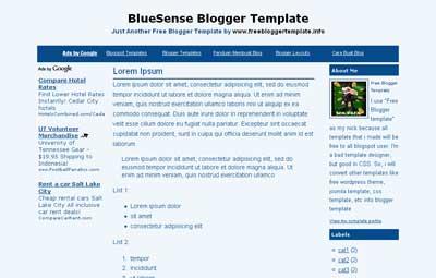 BlueSense - Adsense Ready Blogger Template