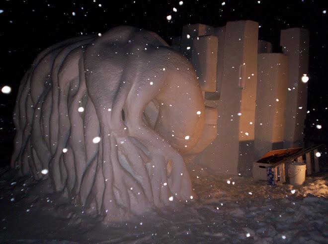 En la noche y nevando