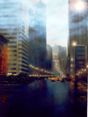 Oil Painting Downtown Chicago Cityscape