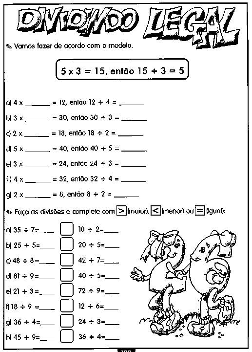 Atividades De Matemática Divisão Querida Professora