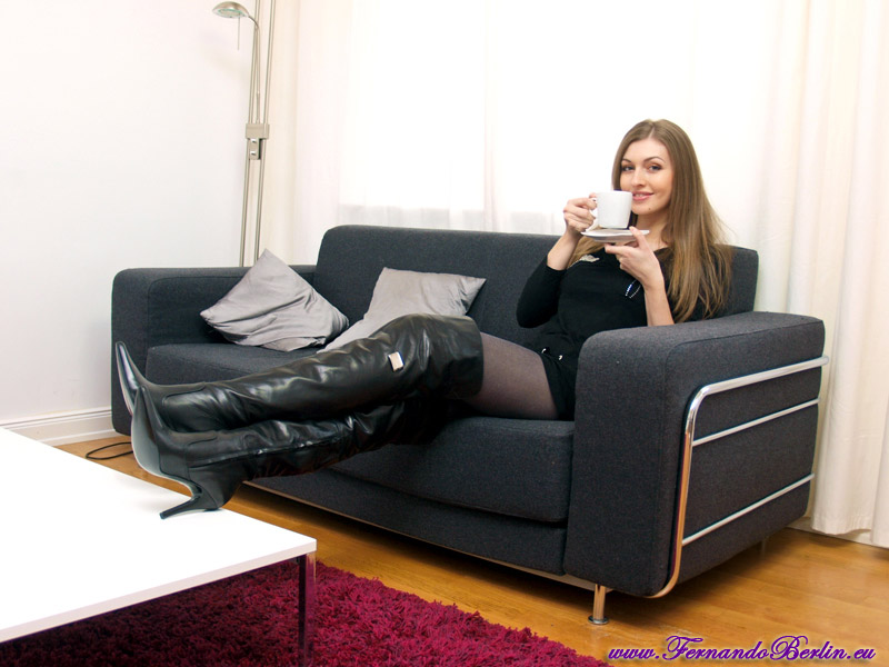 Farm sex thigh high boot mature babe explains that