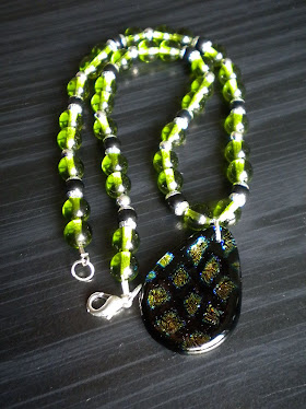 Lime green Art Glass Necklace
