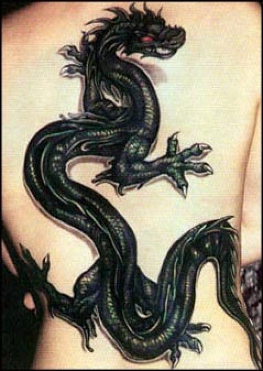 Дракон черное тату фото