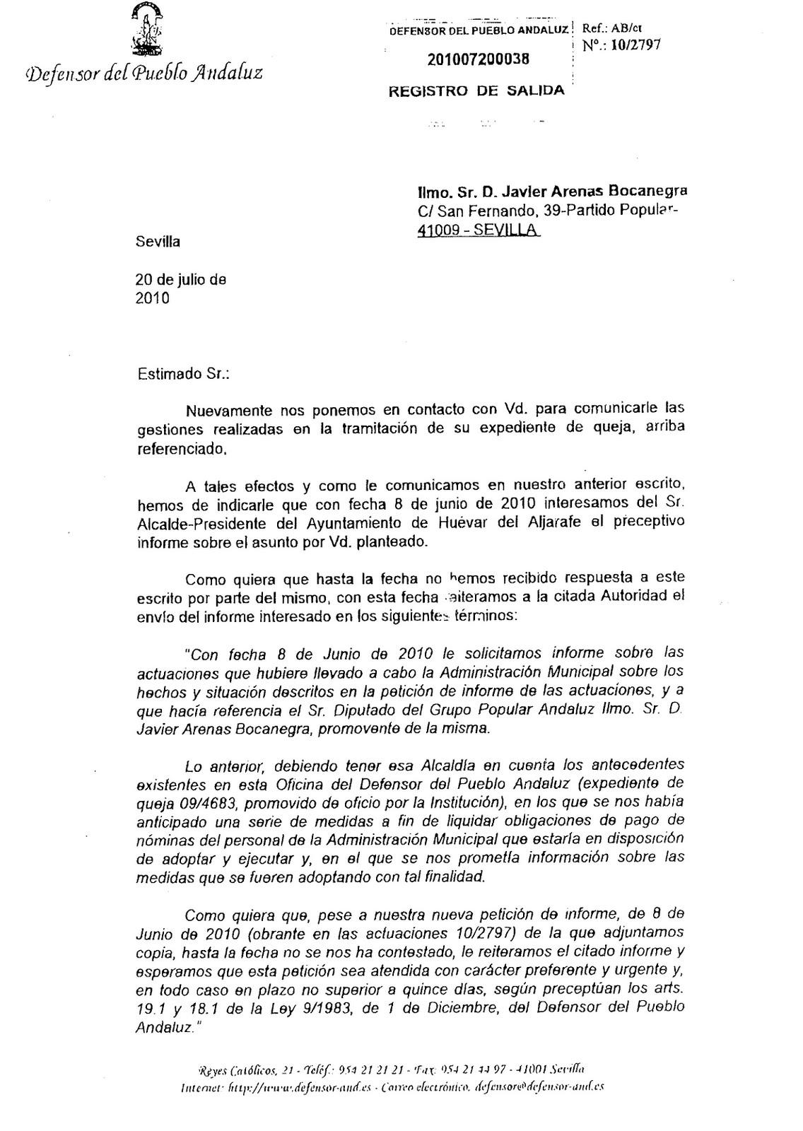 Chamizo requiere al alcalde de hu var para que entregue la for Oficina del defensor del pueblo