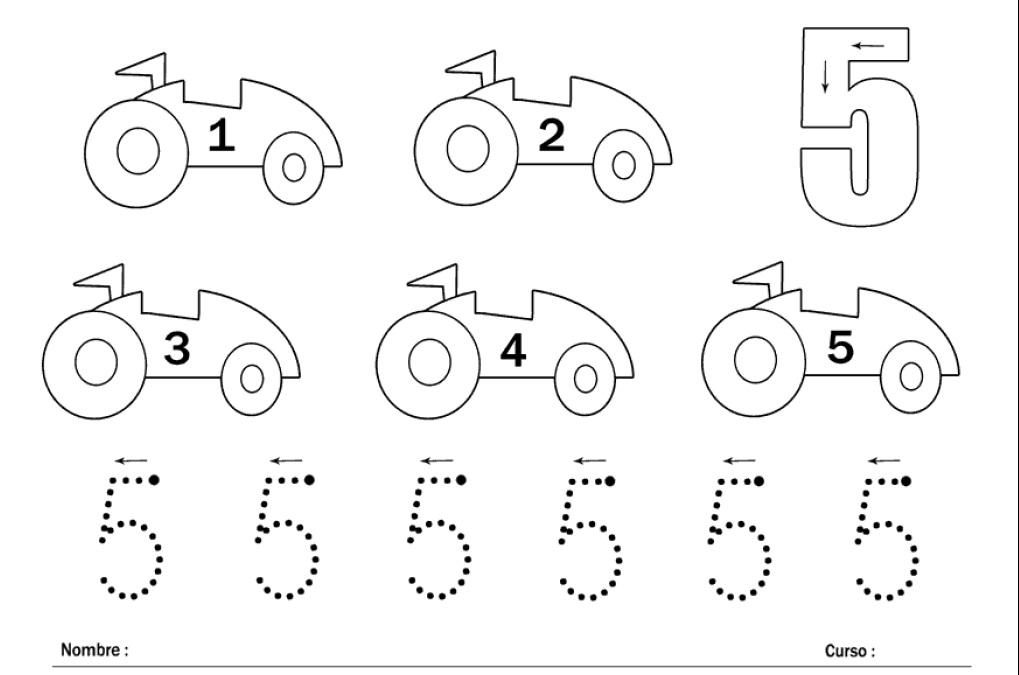 aprender los nÚmeros el nÚmero 5 y los coches web pedagÓgica