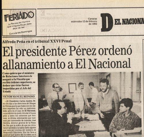 Manchete de jornal venezuelano em 1992