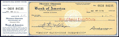 money order with a blank