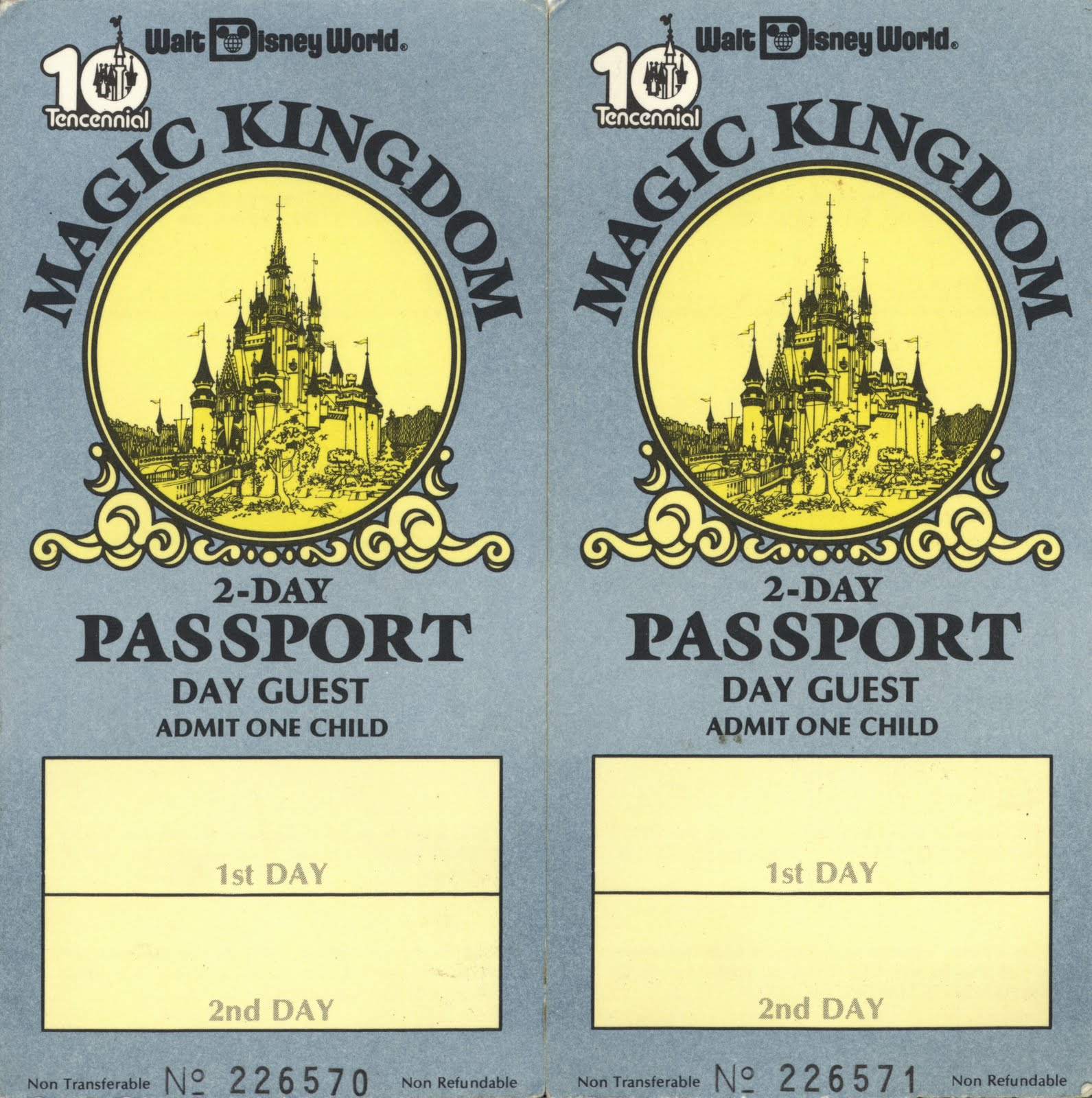 From Walt Disney Words Tencennial Heres A Couple Of Child 2 Day Passports The Date Should Be Stamped On These Since They Appear To Have Been Used