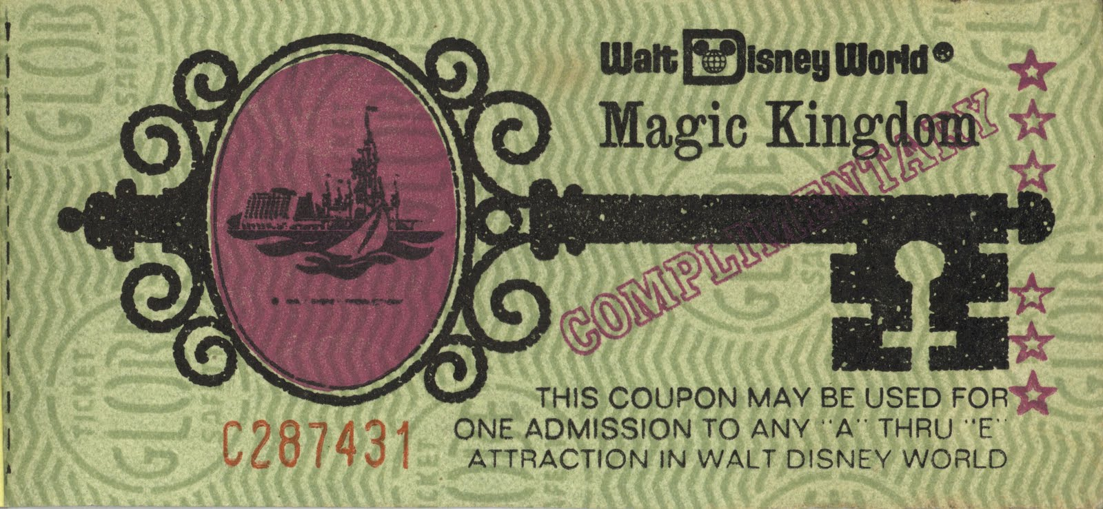 Vintage Disneyland Tickets Walt Disney World