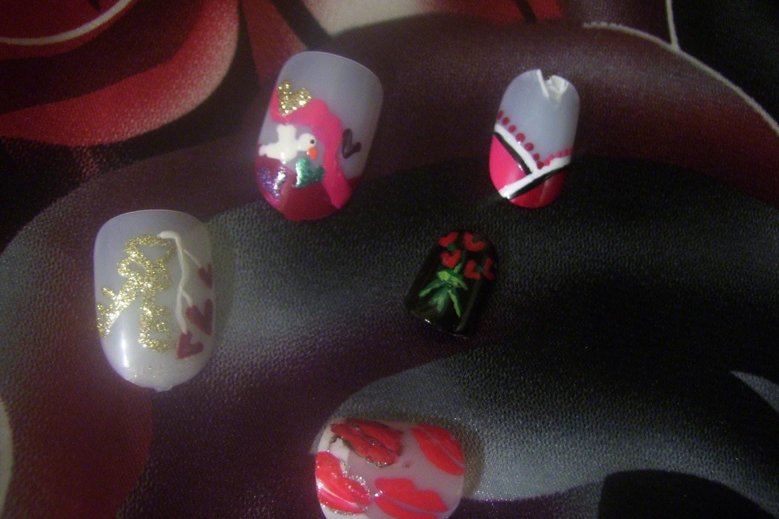 Cre8tivektinas Crafty Endeavors Random Romantic Nail Designs