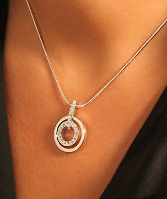 Crystal Ball  Swarovski Rhodium and Crystal Circle Pendant Necklace e1fdd6e9d