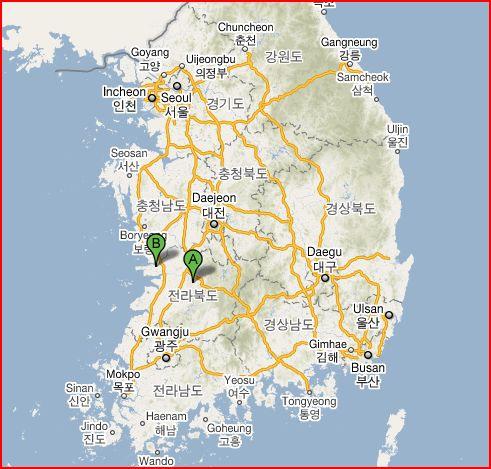 Anggas Road WSK Batch Camp Gunsan And Jeonju - Jeongju map