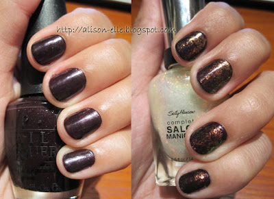 OPI Lincoln Park at Midnight topped with Sally Hansen Hidden Treasure