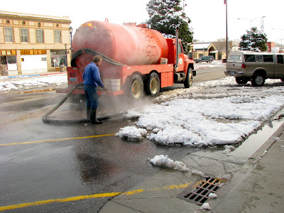 Broadway Street, snow removal in Thermopolis, Wyoming