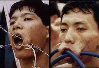 extreme piercings barbed wire mouth