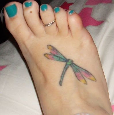 Small Dragonfly Tattoo Design for Girls on foot