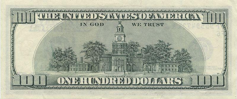 5 dollar bill back. 5 dollar bill back.